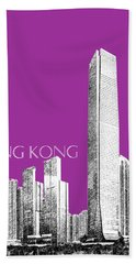Hong Kong Skyline 2 - Plum Beach Towel