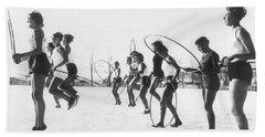 Hoop Jumping Schoolgirls Beach Sheet by Underwood Archives