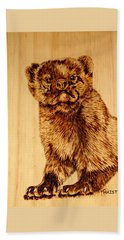 Beach Sheet featuring the pyrography Hope's Marten by Ron Haist