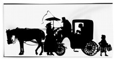 Horse And Carriage Silhouette Beach Towel