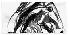 Horse- Apple -digi - Black And White Beach Towel