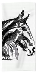 Horse- Apple -digi - Black And White Beach Sheet