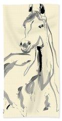 Beach Towel featuring the painting Horse - Arab by Go Van Kampen