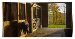 Horse Barn Sunset Beach Towel