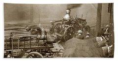 Horse Drawn Water Steam Pumper Fire Truck Circa 1906 Beach Towel