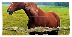 Horse In The Pasture Beach Towel