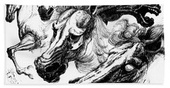 Horse Ink Drawing  Beach Towel