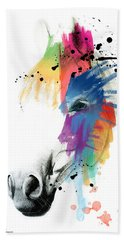 Horse On Abstract   Beach Towel