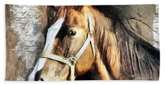 Horse Portrait - Drawing Beach Towel
