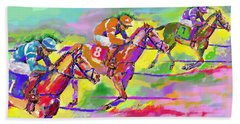 Horse Race  Three Beach Towel