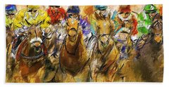 Horse Racing Abstract Beach Towel