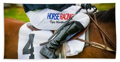 Beach Towel featuring the photograph Horse Racing by Robert L Jackson