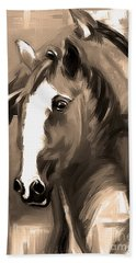 Beach Towel featuring the painting Horse Together 1 Sepia by Go Van Kampen