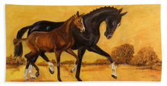 Beach Towel featuring the painting Horse - Together 2 by Go Van Kampen
