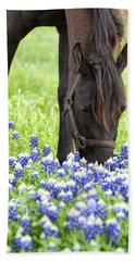 Horse With Bluebonnets Beach Sheet