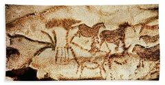 Horses And Deer From The Caves At Altamira, 15000 Bc Cave Painting Beach Towel