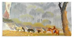 Horses Drinking In The Early Morning Mist Beach Towel