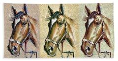 Horses Hand Drawing Beach Towel