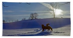 Horses In Snow Beach Towel