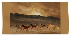Beach Towel featuring the photograph Horses Of Stone by Melinda Hughes-Berland