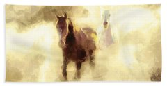 Horses Of The Mist Beach Towel by Greg Collins