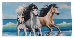 Horses On A Beach Beach Towel