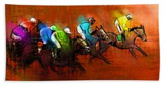 Horses Racing 01 Beach Towel