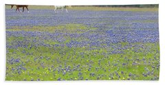 Horses Running In Field Of Bluebonnets Beach Sheet