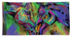 Horses Together In Colour Beach Towel by Go Van Kampen