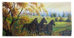 Horses Beach Towel