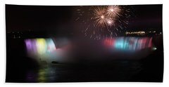 Horseshoe Falls With Fireworks Beach Towel