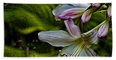 Hosta Lilies With Texture Beach Towel