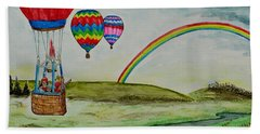 Hot Air Balloon Rainbow Beach Towel