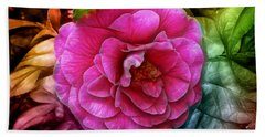 Hot And Silky Pink Rose Beach Towel by Lilia D