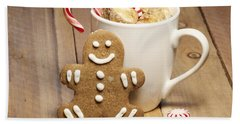Hot Chocolate Toasted Marshmallows And A Gingerbread Cookie Beach Towel