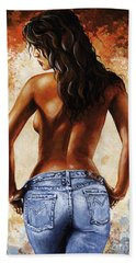 Hot Jeans 02 Blue Beach Towel by Emerico Imre Toth