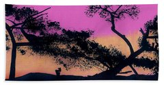 Beach Towel featuring the drawing Hot Pink Sunset by D Hackett