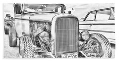 Hot Rod Faux Sketch Beach Towel