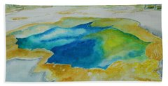 Beach Sheet featuring the painting Hot Springs Yellowstone National Park by Geeta Biswas