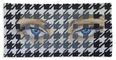 Houndstooth Eyes Beach Towel