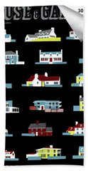 House & Garden Cover Illustration Of 18 Houses Beach Towel