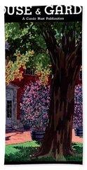 House & Garden Cover Illustration Of A Gardener Beach Towel