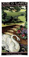 House & Garden Cover Illustration Of A Swan Beach Towel