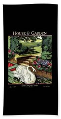 House & Garden Cover Illustration Of A Swan Beach Towel