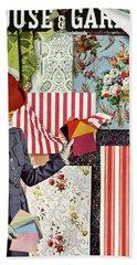 House & Garden Cover Illustration Of A Woman Beach Towel