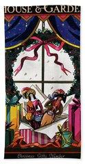 House & Garden Cover Illustration Of Christmas Beach Towel