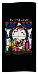House & Garden Cover Illustration Of Christmas Beach Towel