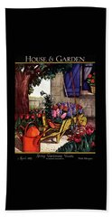 House & Garden Cover Illustration Of Garden Scene Beach Towel