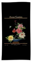 House & Garden Cover Illustration Of Peonies Beach Towel