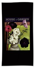 House & Garden Cover Illustration Of Petunias Beach Towel